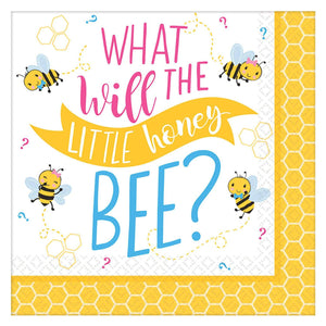 "What Will It Bee? Baby Shower Beverage 5"" Napkin - USA Party Store"
