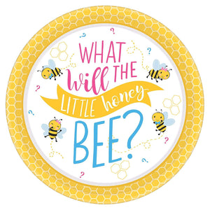 What Will It Bee? Baby Shower Round Paper Disposable Dinner Plate - USA Party Store