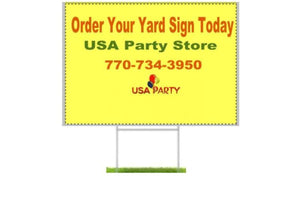 Custom Yard Signs - Wire Stake Included - USA Party Store