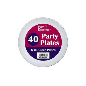 6″ PARTY PLATES – CLEAR 40 CT. - USA Party Store
