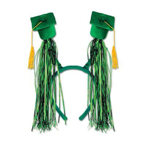 Green Grad Cap With Fringe Boppers - USA Party Store