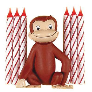 Curious George Cake Topper with 6 Candles - USA Party Store