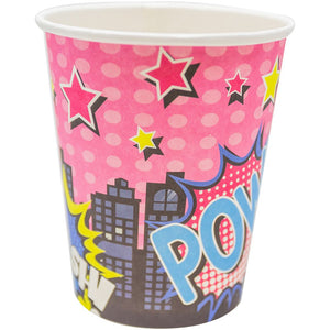 Girl Super Hero Cup 9oz 8 ct