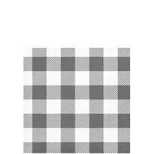 Gray and White Check Beverage napkin