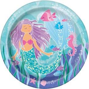"Mermaid 9"" Plates - USA Party Store"