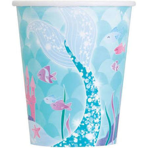 9oz Paper Mermaid Cups, 8ct, - USA Party Store