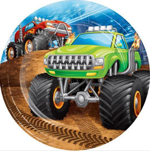 Monster Truck Rally Dessert Plates (8) Ct - USA Party Store