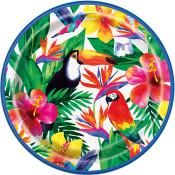 "Palm Tropical Luau Round 9"" Dinner Plates, 8ct - USA Party Store"