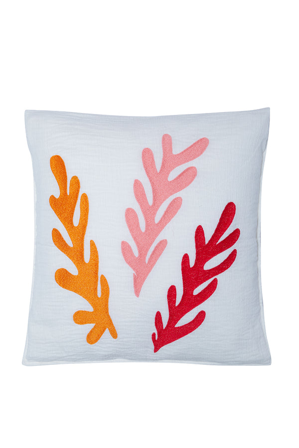 CUSHION COVER TULUM WHITE / MIX RED EMBROIDERIES