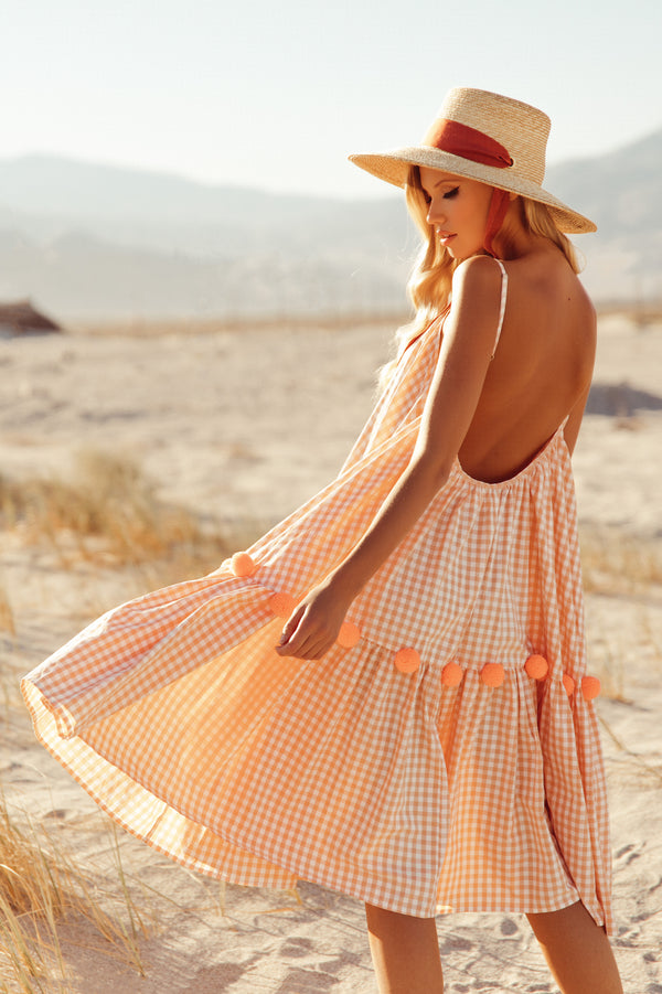 CLEA MIDI DRESS GINGHAM PEACH / FLAMINGO