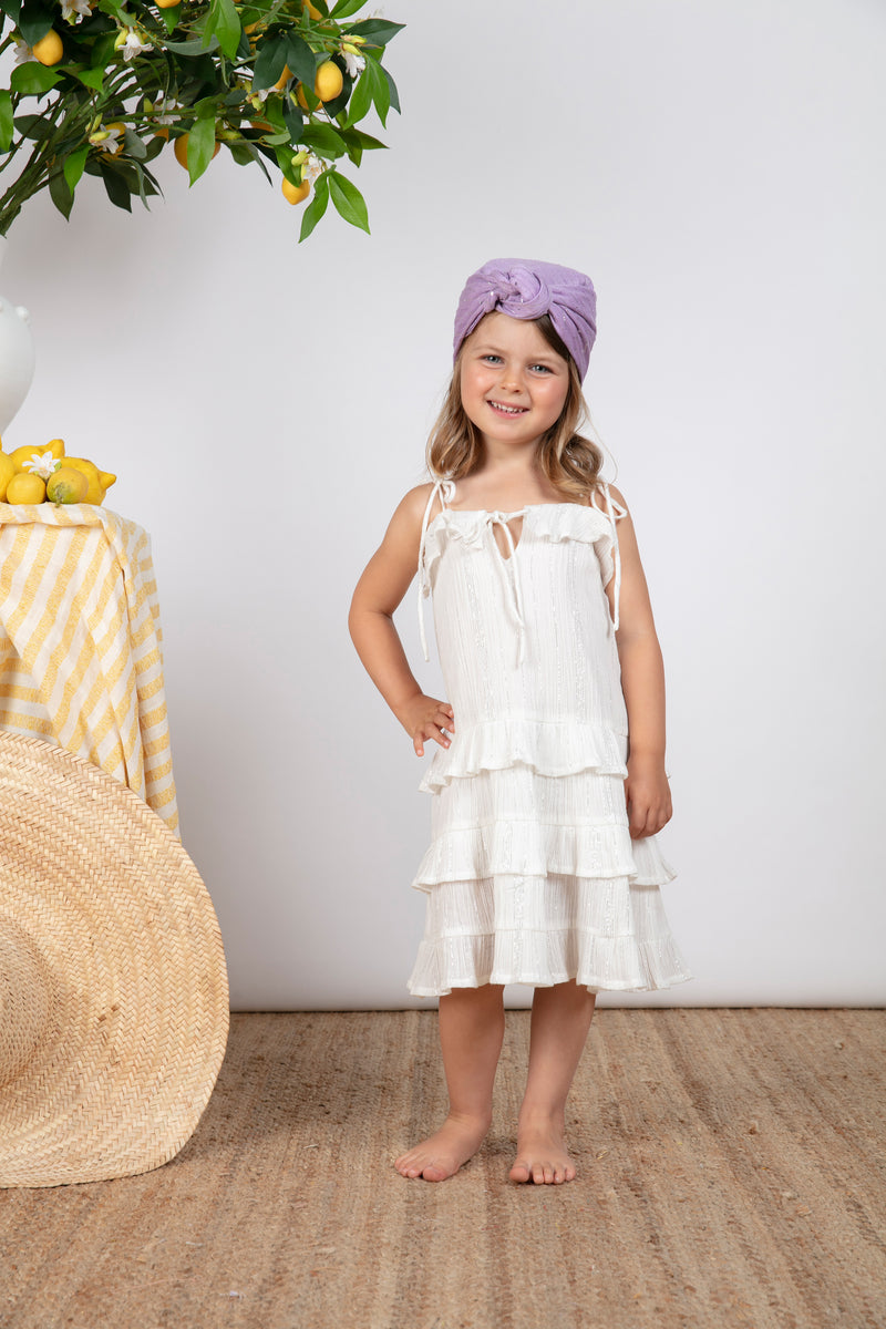 FLOWER BABY DRESS WHITE / SILVER