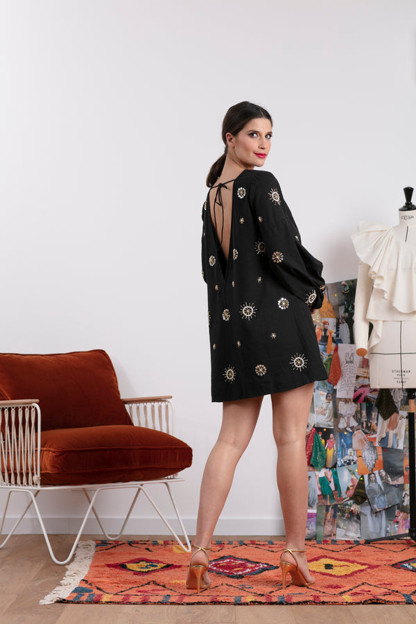 BILLIE DRESS BLACK & SUN EMBROIDERIES