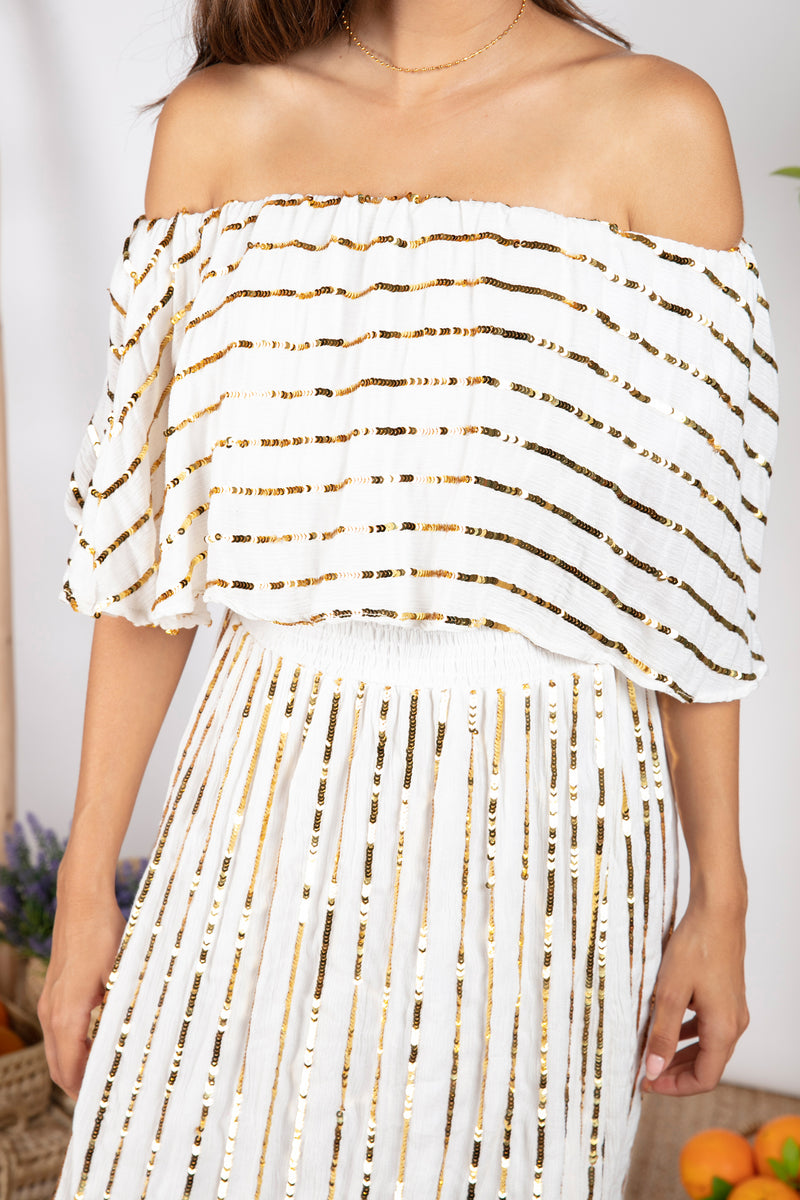 JOSEPHINE WHITE / GOLD SEQUINS LINES