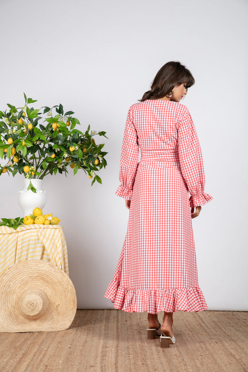 INES SHIRT GINGHAM CORAL