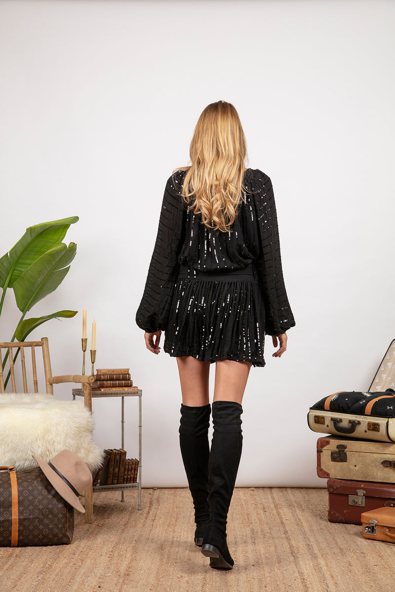 TIFFANIE SKIRT BLACK / BLACK SEQUINS LINES