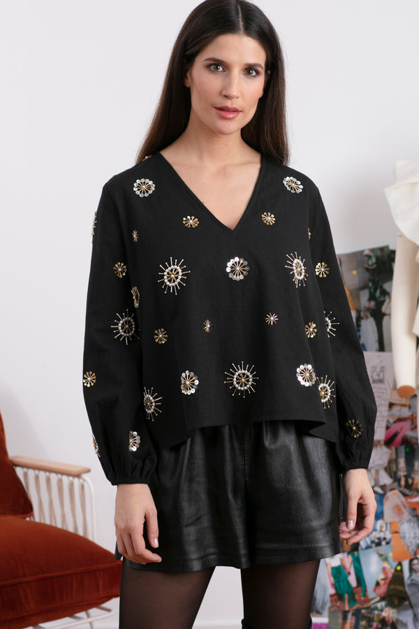 CHICAGO TOP BLACK & SUN EMBROIDERIES