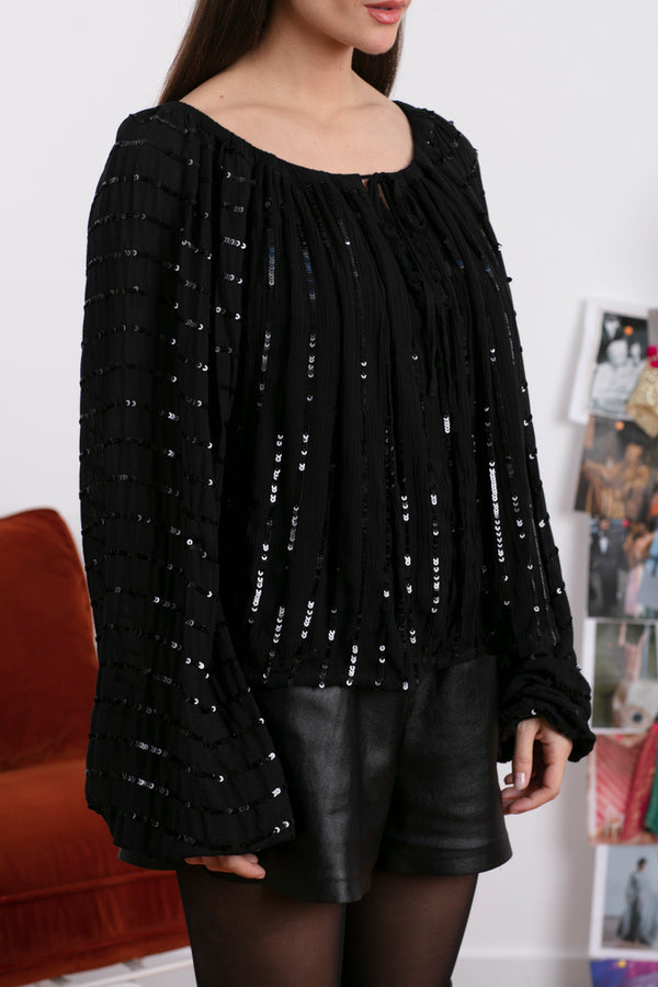 BIANCA TOP BLACK / BLACK SEQUINS LINES