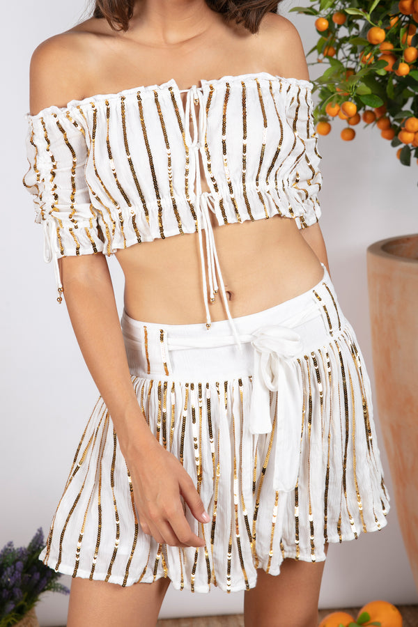 TIFFANIE SKIRT WHITE / GOLD SEQUINS LINES