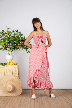 INES SKIRT GINGHAM CORAL