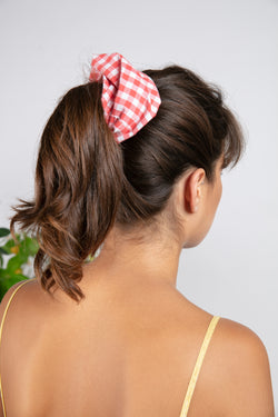 ELASTIC HAIR GINGHAM CORAL