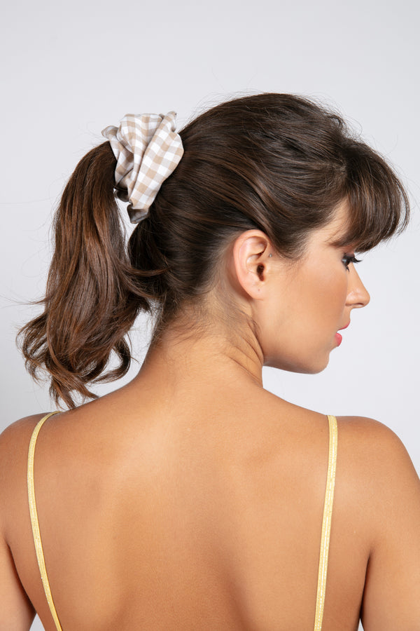 ELASTIC HAIR GINGHAM BEIGE