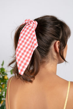 SMALL SCARF GINGHAM CORAL