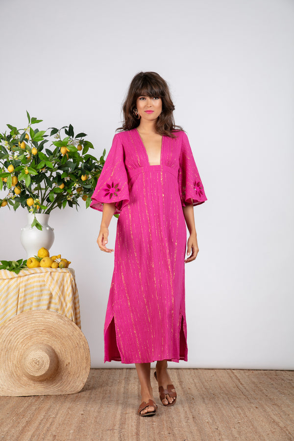 MARINA LONG DRESS FUCHSIA / GOLD AND SUN CUT