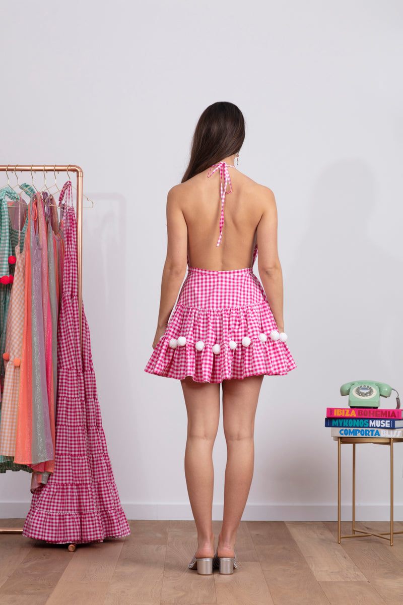 NEPTUNE SHORT DRESS GINGHAM PINK / WHITE