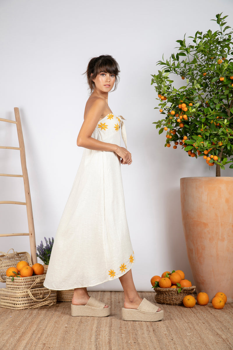 PAMPA COCONUT DRESS / CURCUMA DAISIES EMBROIDERIES