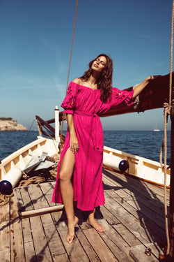 PAULA DRESS FUCHSIA / GOLD AND SUN CUT
