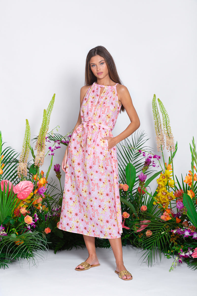 SALINA LONG DRESS RIVIERA COTTON SILK PINK