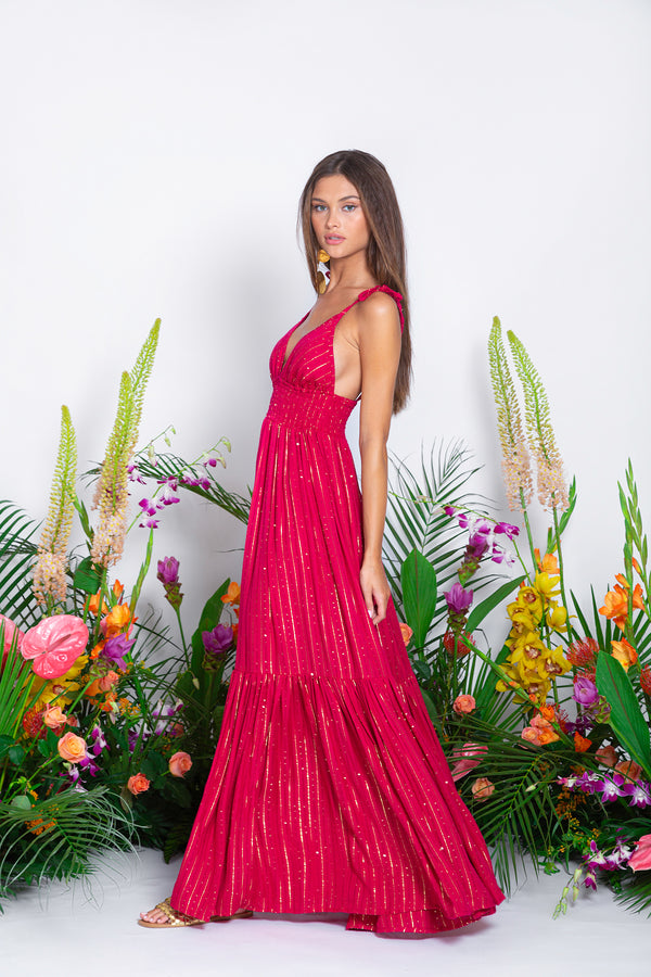 PRE ORDER - YOLANDA LONG DRESS ROMA FUCHSIA