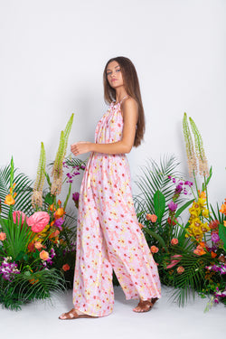 SOPHIE JUMPSUIT RIVIERA COTTON SILK PINK