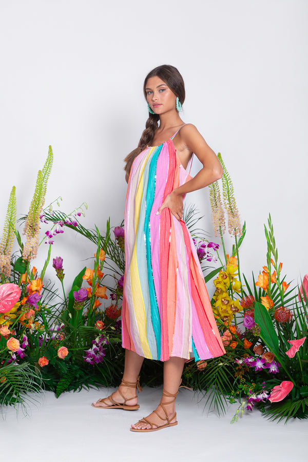 KIARA DRESS MULTICOLOR STRIPES AND SEQUINS