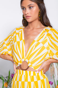 YUMA CROP TOP GEOMETRIC PRINT YELLOW