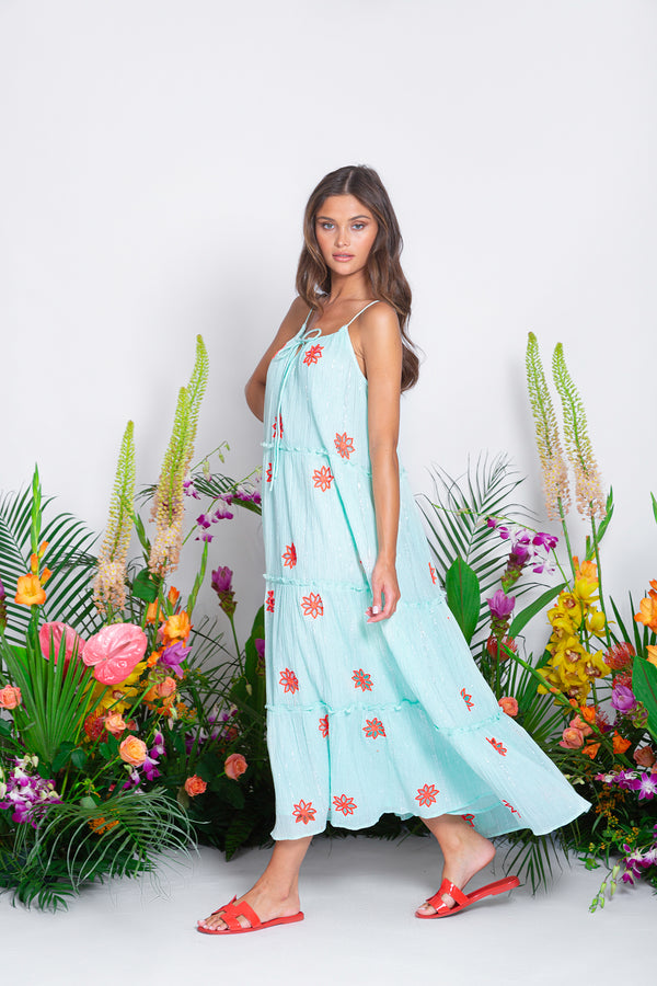 MAUREEN LONG DRESS PACIFIC POOL / NEON CORAL