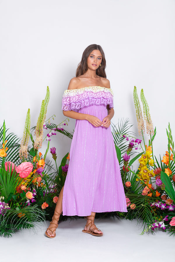 JOSEPHA LONG DRESS EYELET OMBRE / PACIFIC LAVENDER