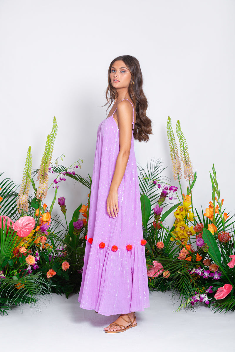 CLEA LONG DRESS PACIFIC LAVENDER / FUCHSIA