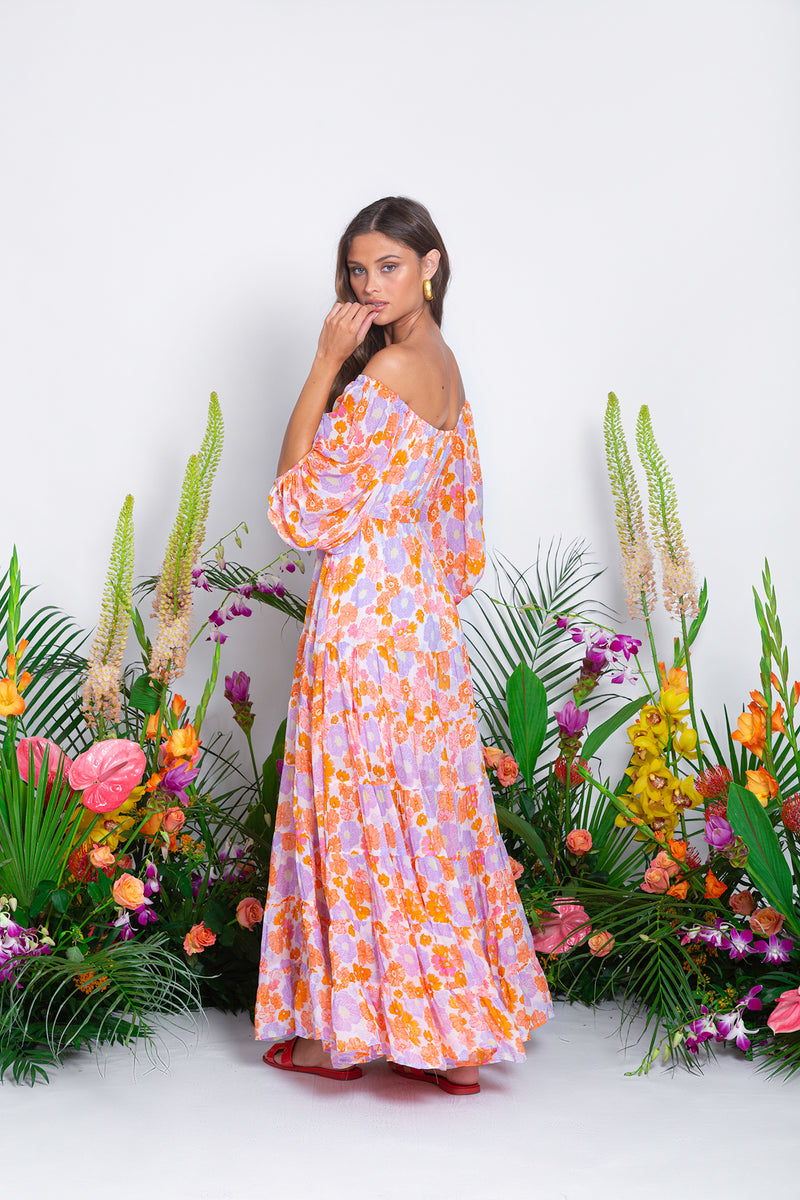 SALOME LONG DRESS FLOWERS