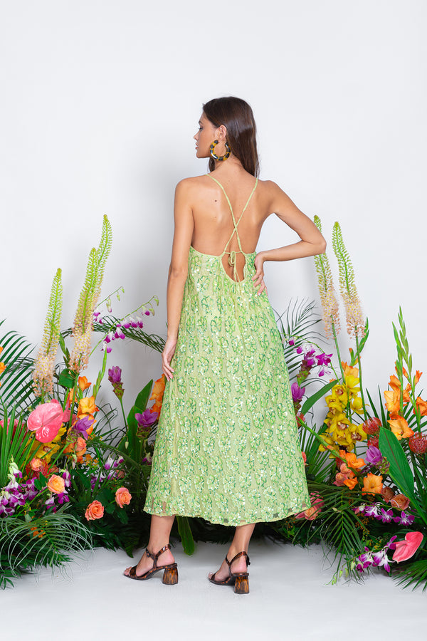 MADELINE LONG DRESS MONACO NEON LIME / SEQUINS