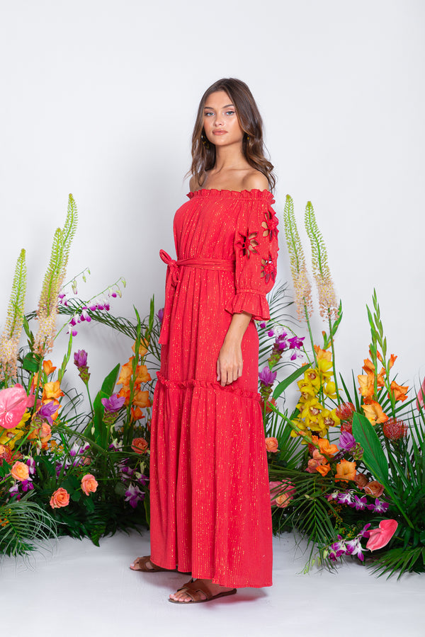 ORNELLA LONG DRESS PACIFIC RED / GOLD AND SUN CUT
