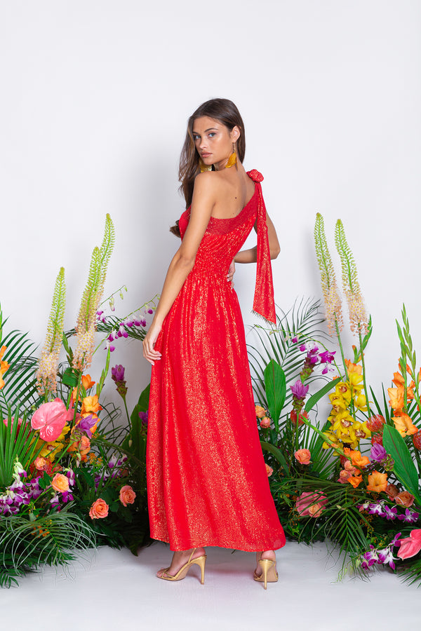 LUCILE LONG DRESS MARBELLA COQUELICOT
