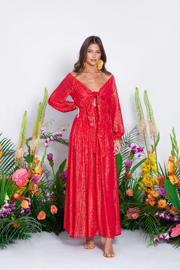 VICTOIRE LONG DRESS MARBELLA COQUELICOT