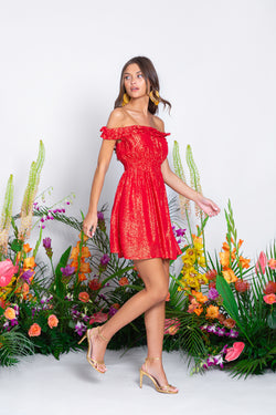NOELLY SHORT DRESS MARBELLA COQUELICOT