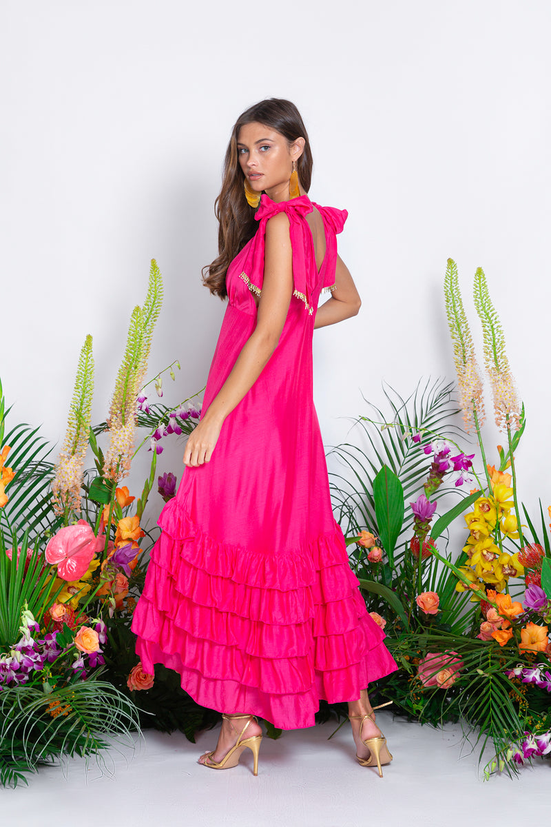 MAGGIE DRESS COTTON SILK FUCHSIA