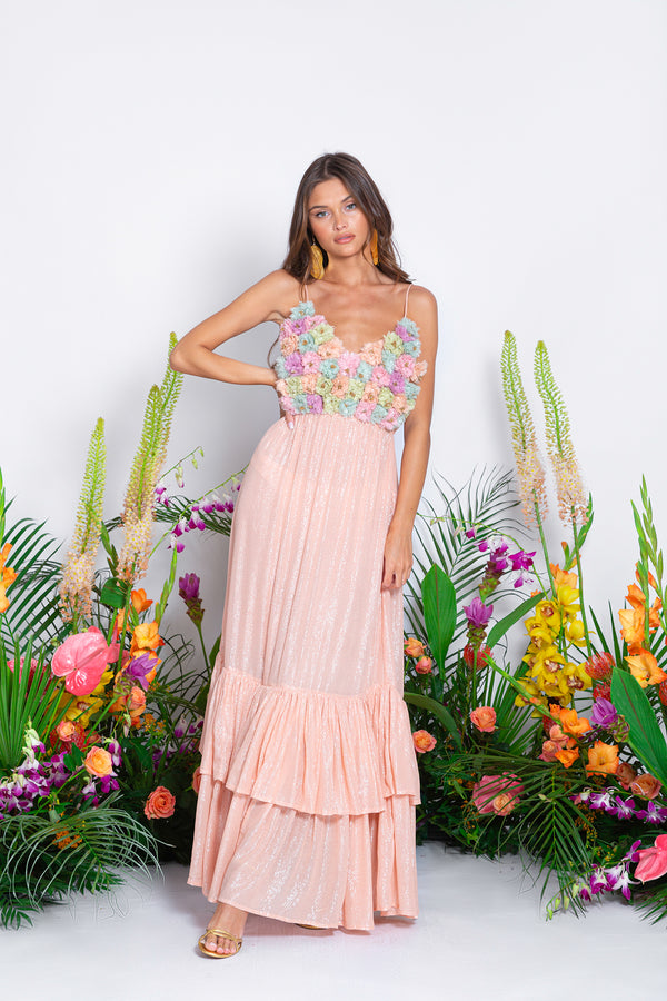 SIRINE LONG DRESS MARBELLA TAN / FLOWERS