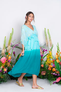 VERA LONG DRESS TIE AND DYE BLUE WITH EMBROIDERIES