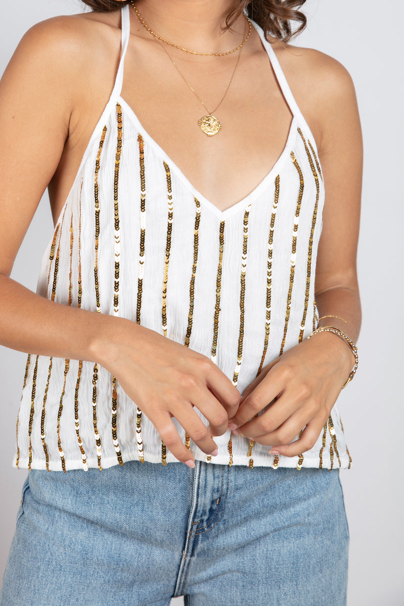 VANILLE CROP TOP WHITE / GOLD SEQUINS LINES
