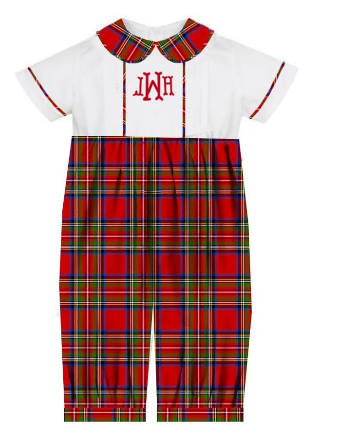 2020 Red Christmas Plaid Boy Romper