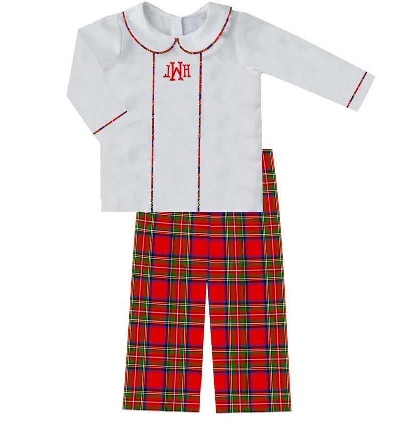 2020 Red Christmas Plaid Boy Pant Set